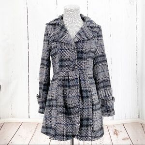 Papillon Tweed Black White Plaid winter Coat Small